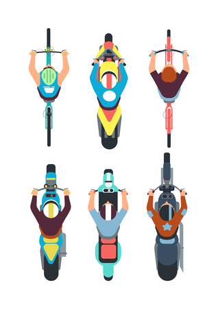 People on bike top view. Persons ride motorcycle, scooter and bicycle in overhead view. Vector set of scooter and bike speed illustration