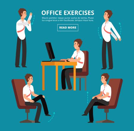 Büroübungen am Schreibtisch. Diagramm für die Vektorillustration des Gesundheitspersonals. Büro-Gesundheitsübungstraining, Körperhaltung entspannen