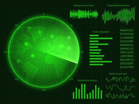Green radar screen with world map. Digital hud interface vector illustration