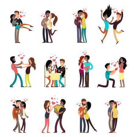 Parejas interraciales jóvenes felices en la ilustración de personajes de dibujos animados de vector de colección de amor