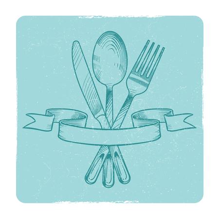 Coltello, cucchiaio e forchetta disegnati a mano in nastri retro banner isolare su bianco. Illustrazione vettoriale