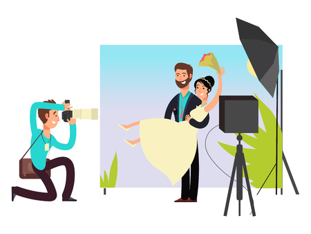 Wedding photo session in studio with newlyweds cartoon characters. Vector illustration