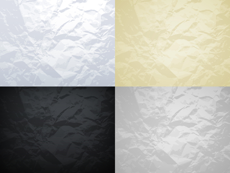 White, yellow, black and grey crumpled paper vector textures set. Crumpled paper texture surface, material page grunge damaged and rumpled illustration  イラスト・ベクター素材