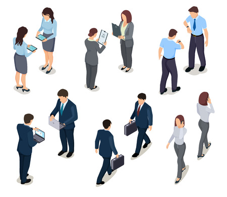 Isometric business people. 3d men and women. Crowd of persons. Businessman and businesswoman. Vector characters in office clothes. Illustration of business people isometric, man and woman