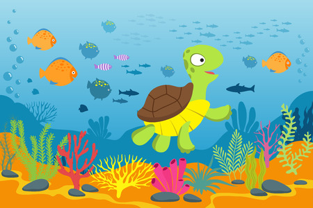 Turtle in underwater scene. Tortoise, seaweeds and fishes in ocean bottom. Cartoon marine vector background. Illustration of turtle under water ocean, marine life