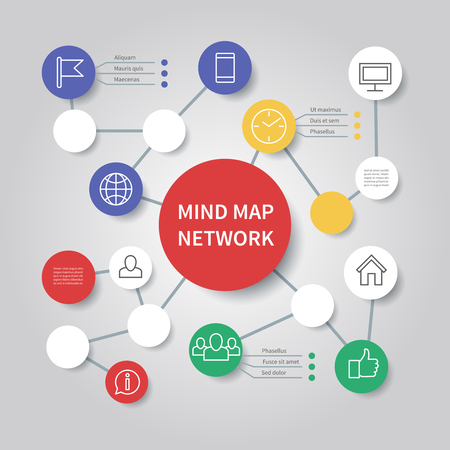 Mind map network diagram. Mindfulness flowchart infographic vector template. Process chart connection, business presentation diagram structure illustration Illustration