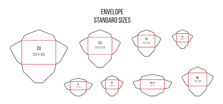 Envelope standards. Letter standard sizes. Print cutting vector isolated template. Illustration of envelope layout package, unwrapped mail c4 and c6