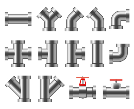 Silver pipes. Aluminum and chrome pipeline. Pipe fittings, water tube vector set. Pipe and pipeline system, construction industrial for sewerage illustration Illustration