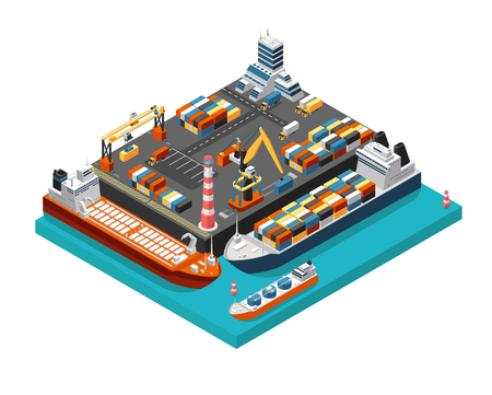 Isometrische 3D-zeehaventerminal met vrachtschepen, kranen en containers in de luchtfoto van de haven. Scheepvaartindustrie vector concept. Transportterminalschip voor lossen, export en opslagillustratie