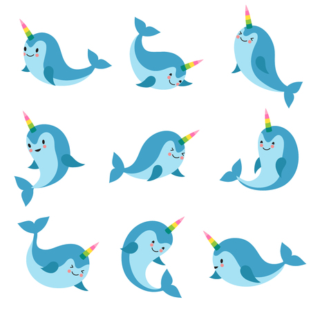 Cute cartoon anime unicorn narwhal. Funny kawaii baby whale vector characters. Animal character swim, aquatic charming and friendly mythical fish illustration Illustration