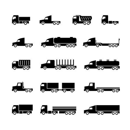 Truck silhouette icons. Shipping, cargo trukcs, dumpers and van. Transportation vector symbols. Transport trailer, van lorry, vehicle truck illustration