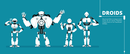 Cartoon robot android, cyborg group. Artificial intelligence vector futuristic background