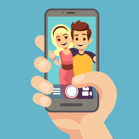 Young couple woman, man taking selfie photo on smartphone. Cute portrait of best friends on phone screen. Cartoon vector illustration. Smartphone selfie camera, mobile portrait photographing