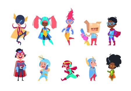 Kids superheroes. Cartoon superhero children. Boys and girls in carnival mask vector characters set Stock Vector - 106546304