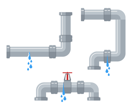 Leaking water pipes. Broken steel and plastic pipeline with leakage, leaking valve, dripping fittings vector set