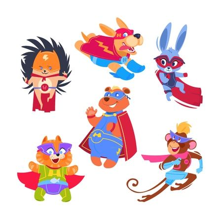 Superhero animal kids. Funny animals wearing superheroes costumes. Cosplay vector characters set