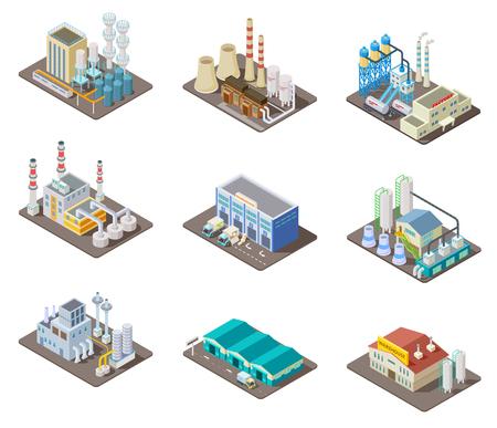 Isometrische fabrieksset. 3D-industriële gebouwen, elektrische centrale en magazijn. Geïsoleerde vector collectie. Industriële fabriek en magazijn, industrie 3d productie productie illustratie