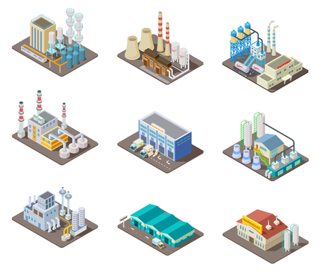 Izometryczny zestaw fabryczny. 3d budynki przemysłowe, elektrownia i magazyn. Kolekcja na białym tle wektor. Przemysłowa fabryka i magazyn, przemysł ilustracja produkcji 3d