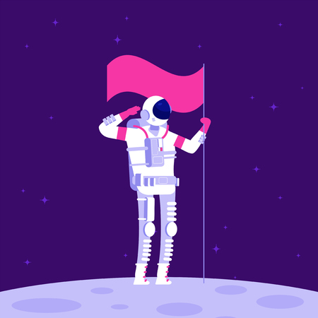 Astronaut on moon. Cosmonaut holging flag on lifeless planet in outer space. Astronautics vector background. Illustration of astronaut on new planet in galaxy Vettoriali