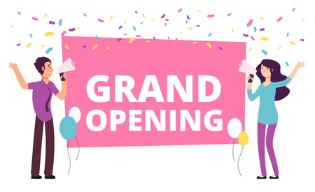 Announcement concept. Woman and man with loudspeaker at grand opening banner. Vector illustration. Ceremony grand open, advertisement announcement