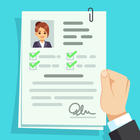 Cv document. Qualification personal documentation with girl avatar vector concept. Interview personal document in hand illustration