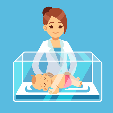 Pediatrician doctor and little newborn baby inside incubator box in hospital. Neonatal, prematurity, child care medical vector concept. Illustration of infant and medical doctor neonatologist