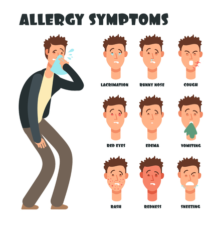 Allergy symptoms with sneezing cartoon man. Medical vector illustration. Disease character, symptom allergic, red eyes and itching Vektorové ilustrace