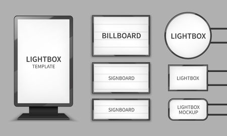 Light boxes. Retail lighting 3d billboards, retro cinema signs. Outdoor signage boards vector template. Advertising promotion, signboard and announcement lightbox screen illustration