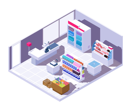 Isometric supermarket interior. 3d grocery store with food products. Supermarket store, market isometric grocery, shop interior with refrigerator and showcase illustration