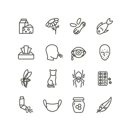 Allergy and rhinitis symptoms line icons. Allergic and allergen outline vector medicine symbols isolated. Allergen pollen and gluten illustration Vectores