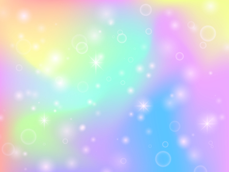 Fairy unicorn rainbow background with magic sparkles and stars. Multicolor fantasy abstract vector backdrop. Vector fairytale girlie gradient effect illustration