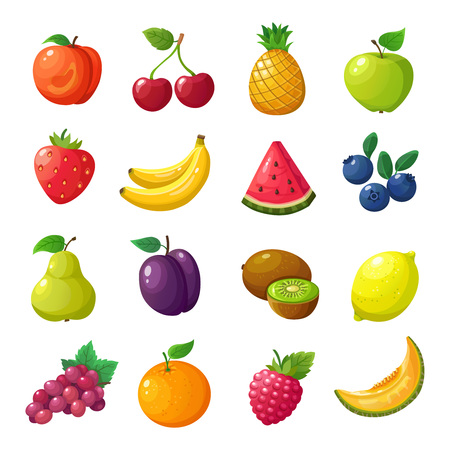Cartoon fruits and berries. Melon pear mandarin watermelon apple orange isolated vector set. Peach and cherry, pineapple and apple, watermelon and banana, blueberry and lemon illustration