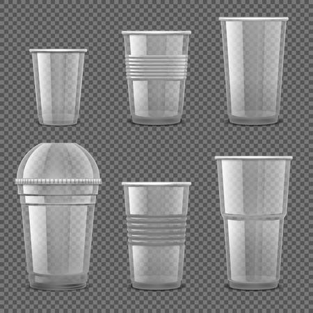 Vasos desechables de plástico transparente vacíos. Envases de bebidas para llevar aislado conjunto de vectores. Ilustración de recipiente de plástico transparente desechable para beber