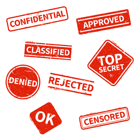Top secret, rejected, approved, classified, confidential, denied and censored red grunge business stamps isolated on white background