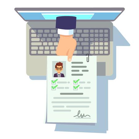 Online-Lebenslauf-Bewerbung. Setzen Sie die Einreichung auf Laptop-Bildschirm, Rekrutierung und Karrieremanagementvektorkonzept fort Online-Job, Bewerbungs-Lebenslauf-Abbildung