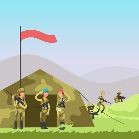 Military soldiers training vector illustration. Cartoon soldiers, tent on landscape Banco de Imagens - 111884823