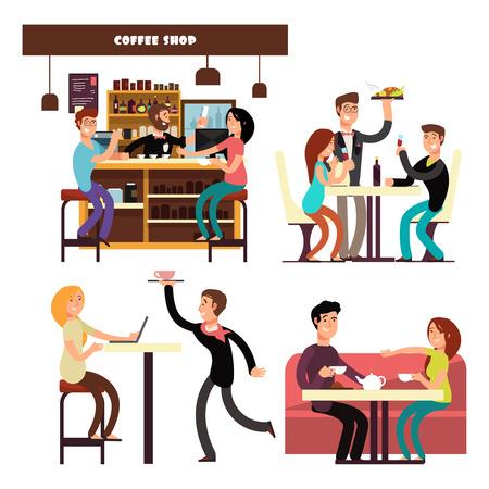 Café, Café, Restaurant mit Treffen und Trinken von Kaffeeleuten Vektor. Cartoon-Charakter glückliche Menschen essen, grinsen und arbeiten in Café-Illustration