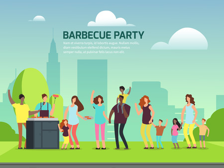 Barbeque party banner design. Cartoon character international families in park vector illustration Ilustrace