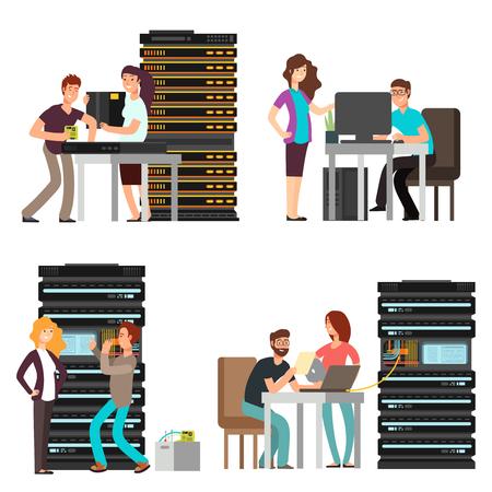 Ingénieurs homme et femme, technicien travaillant dans la salle des serveurs. Prise en charge du centre informatique numérique. Illustration vectorielle