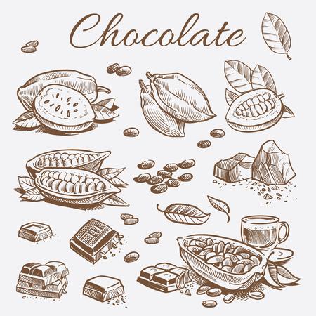 Collezione di elementi di cioccolato. Fave di cacao, barrette di cioccolato e foglie di disegno a mano