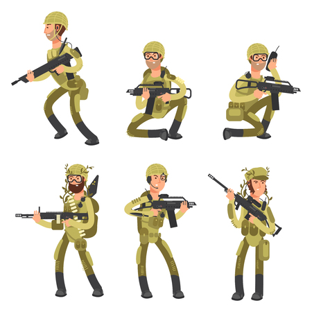 Army cartoon man soldiers in uniform isolated on white background. Military concept vector illustration Ilustração