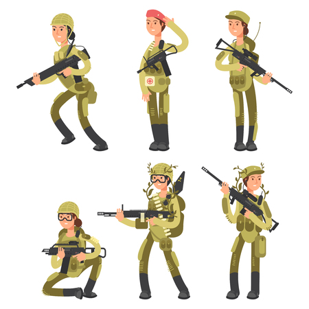 Cartoon characters female soldiers in various actions vector set isolated on white illustration Vettoriali