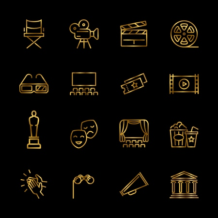 Golden entertainment and performance line vector icons. Shiny theater and cinema outline symbols illustration