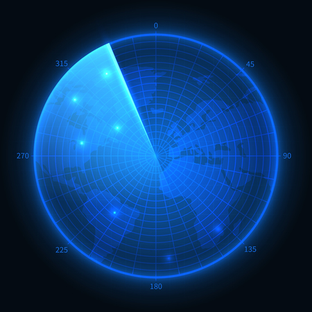 Radar screen. Military blue sonar. Navigation interface vector map. Illustration of navigation monitor, military digital equipment 向量圖像