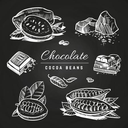 Fette di cioccolato dell'illustrazione della mano e fave di cacao isolate sulla lavagna. Illustrazione vettoriale