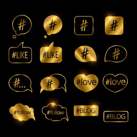 Golden hashtag post social media vector icons Stock Photo