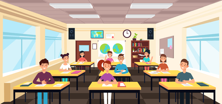 Pupils study in classroom interior. Pupils in school lesson vector concept. Study classroom interior with desk and chair. Vector illustration Ilustração