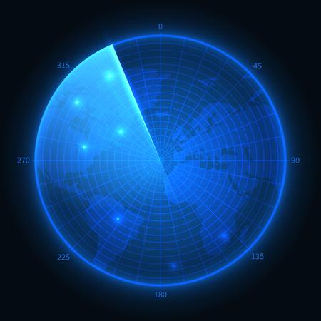 Radar screen. Military blue sonar. Navigation interface vector map. Illustration of navigation monitor, military digital equipment