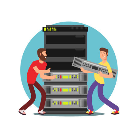 Two male server administrators working with data base. IT flat vector illustration Vecteurs