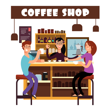 Woman and man meeting in coffee shop bar counter vector illustration
